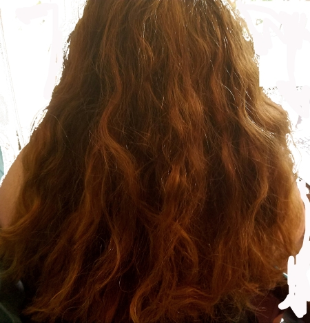Photograph of back of woman with long red hair